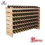UEnjoy 4 Family 91 Bottles Holder Wine Rack Stackable Storage 7 Tier Solid Wood Display Shelves