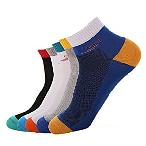 Estwell Mens Sports Socks 5 Pairs Cotton Crew Socks Nonslip Athletic Running Socks, UK 6-11