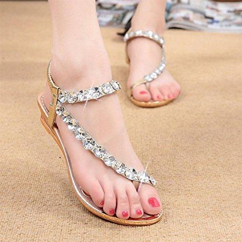 Vovotrade Femme Sandales dété Rhinestone Flats Plate-forme Wedges Chaussures Brillant Flip Flops Or