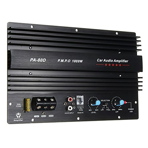 Ballylelly 12 V 1000 W Amplificateur Conseil Mono Voiture Audio Amplificateur de Puissance Puissant Basse Subwoofers Amp pour Voiture Modification PA-80D