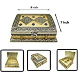 IASPRODUCT Rajwa Oxidised Meenakari Dry Fruit Box With 4 Compartment, Diwali Special Dry Fruit Box, Gift Box, Wedding Function For Home (Golden Color)(LXBXH - 9X7X3.5)