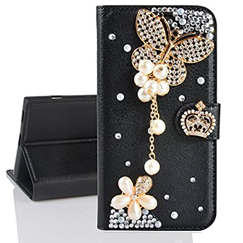 Xifanzi Wallet PU Leather Case Cover for Samsung Galaxy A7 (2017) Black leather case Solid Color Flip Case Luxury 3D Bling Bowknot Crystal Diamond Design Flowers Floral Crown Pearl Butterfly Folio Stand Wallet Flip with Card Slots Cute Magnetic Buckle Protective Cell Phone Wallet Case for Samsung Galaxy A7(2017) A720F