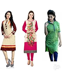 Combo Cotton Kurti For Women Party Wear Cotton Semi-stiched Printed Pink & Black Color Straight Kurti For Women...