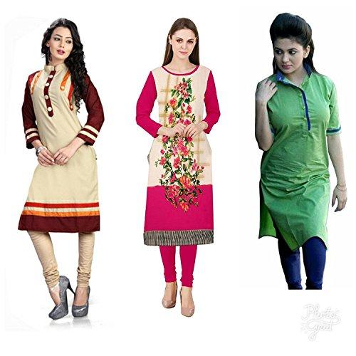 Pramukh Fashion Multicolor Cotton Women's Combo Of Kurta Dress Material (Pfk-181_Free Size)