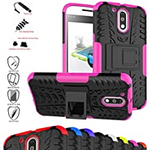 MOTO G4 / G4 Plus Funda,Mama Mouth Heavy Duty silicona híbrida con soporte Cáscara de Cubierta Protectora de Doble Capa Funda Caso para Motorola Moto G4 / G4 Plus G 4th Generation Smartphone,Rosa