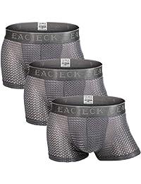 FZmix Men's Boxer Briefs,Underwear Trunks Thin Mesh Breathable Basic Boxers Shorts Underpants Plus Size Panties 3 Pcs