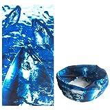 Dulcii Multi-fonction Serviette mouchoir de tête en motif de crâne Echarpe extensible sans couture pour moto vélo randonnée ski snowboard etc. 25cm x 25cm±1cm (Motif des poissons)