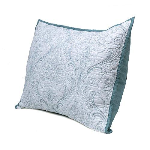 König Damast-sham (Elegant Life gewaschen 100% Baumwolle Damaskus Solide Stickerei Bettwäsche, Steppdecke und Kissen Sham Set, baumwolle, weiß, Standard Sham)