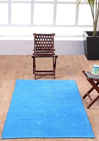 Homescapes waschbarer Chenille Teppich Vorleger 110 x 170 cm aus 100% reiner Baumwolle, Farbe: blau, pflegeleicht und