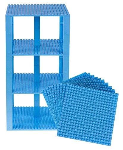 """Stapelbare Premium-Bauplatten - inkl. neuen verbesserten 2x2-Bausteinen - kompatibel mit allen großen Marken - geeignet für Turm-Konstruktionen - Set aus 10 Platten - je 6"""" x 6"""" (15,2 x 15,2 cm) - Himmelblau"""