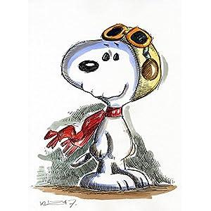 Original Feder und Aquarell auf Aquarellkarton: Snoopy Red Baron / 24x32 cm