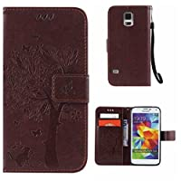 Samsung Galaxy S5 Case + Free Tempered Glass Screen Protector, BoxTii® Premium PU Leather Case Cover with [Wrist Strap] [Magnetic Clip] [Card Slots] [Stand], Elegant Vintage Book Style Design Anti-Scratch Shock-Absorption Folding Folio Flip Wallet for Samsung Galaxy S5 (#4 Brown)