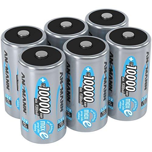 ANSMANN Akku D Mono Typ 10000mAh 1,2V NiMH 6 Stück für Geräte mit hohem Stromverbrauch - Wiederaufladbare Batterien maxE - Akkus für Spielzeug, Taschenlampe, Modellbau uvm - Rechargeable Battery