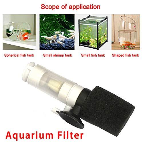 Metyere Mini Saugnapf Aquarium Filter, Aquarium Filter Biochemische Schwamm Aquarium Sauerstoffpumpe Wasser Reiniger Aquarium Super Mute Kleine Pneumatische Filter Reinigungswerkzeug für Aquarium