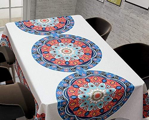 QWEASDZX Tischdecke Antifouling Ölbeständig Nationaler Stil Polyester Baumwolle Quadratische fleckenabweisende Tischdecke Rechteckige Tischdecke 150x150cm