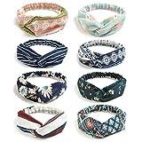DRESHOW 8 Pack Kopf Wickeln Stirnbänder Jahrgang Elastische Dehnbar Moisture Solide Farbe Criss Haarband für Damen