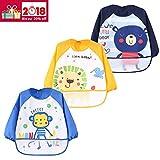 3er Pack Wasserdicht Ärmellätzchen Nässeschutz Babylätzchen Baby-Latz lang Arm - Essen und Play Smock Schürze für Kleinkinder von 6 - 36 Monate