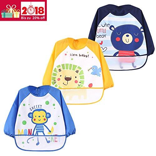 3er Pack Wasserdicht Ärmellätzchen Nässeschutz Babylätzchen Baby-Latz lang Arm - Essen und Play Smock Schürze für Kleinkinder von 6 - 36 Monate (Große Wasserdichte Baby Lätzchen)