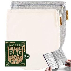Eco Nussmilchbeutel 2 Filterbeutel Natur im Mix-Pack | 1 x Leinen 1 x Baumwolle | Raw Food Filter Bag von NECTARBAR