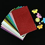 #2: KABEER ART Pack Of 10 A4 Size Eva Foam Glitter Sheets - For Crafts, Home. Office, Party Decorations