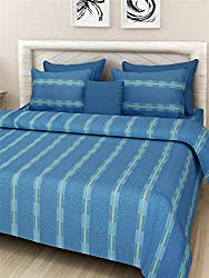 Soumya Solid Pattern Cotton Double Bedcover set, 1 Double Bedcover, with 2 Pillow Cover,