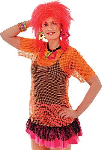 Erwachsene Punk Fancy Kleid Party 80er Glam Rock Sexy siehe durch Fischnetz Mesh Top UK Gr. Einheitsgröße, Orange