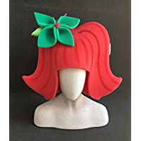 Peluca sesenta roja con flor verde
