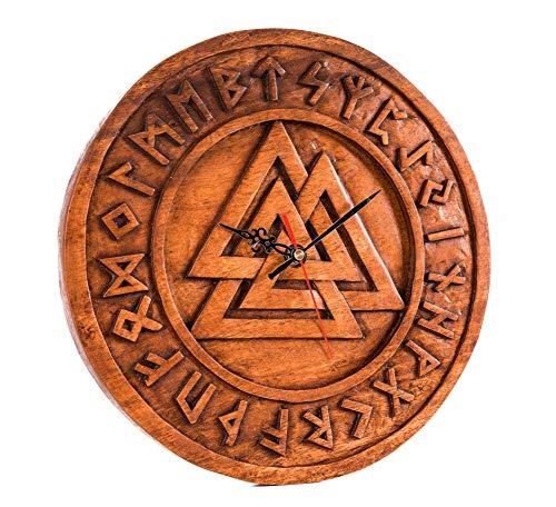 Windalf Reloj de Pared Asatru Wotans con Nudos de Odins, diámetro de 30 cm, runas vikingas, Reloj de Pared de Madera Vintage Hecho a Mano