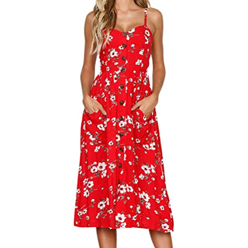 MRULIC Damen V Ausschnitt Spaghetti Buegel Blumen Sommerkleid Elegant Vintage Cocktailkleid Kleider (EU-46/CN-2XL, Rot) (Jahre 50er Halloween, Musik)