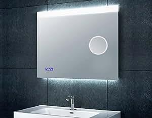 badspiegel mit beleuchtung uhr und kosmetikspiegel 80x60cm k che haushalt. Black Bedroom Furniture Sets. Home Design Ideas