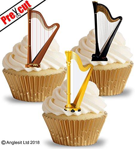 vorgeschnittenen Harfe essbarem Reispapier/Waffel Papier Cupcake Kuchen Dessert Topper Party Geburtstag Hochzeit Keltischer Musik Dekorationen