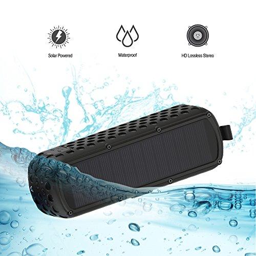 Altavoz Bluetooth con Energía Solar, Lanmey Altavoz inalámbrico la Calidad de Sonido Superior , Subwoofer, entrada AUX, 30 horas de batería y manos libres, compatible Android e iOS