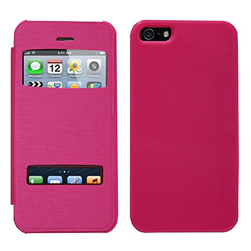 VCOMP® Etui Housse Coque flip cover View compatible pour Apple iPhone 5/ 5S/ SE + stylet - VIOLET ROSE