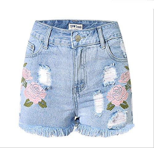 Byjia Europäische Und Amerikanische Frauen Tragen Gestickte 3D Stereo Hohe Taille Skinny Jeans Mini Shorts Night Club . Light Blue . 40