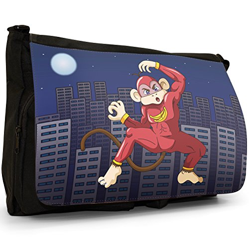 Superhero Action Hero animali grande borsa a tracolla Messenger Tela Nera, scuola/Borsa Per Laptop Super Banana Ninja Monkey