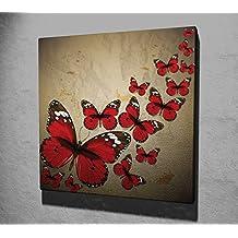 Lienzo Panel cuadro colgante de pared Split arte rojo Mariposa Pretty Flying familia