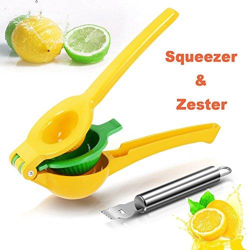 Exprimidor Manual de Limón - Rantizon Exprimidor de Cítricos, 2 en 1 Adecuado para Todos los Cítricos, Protección Contra la Corrosión y Apto para Lavavajillas, Cuchillo Pelador de Cítrícos Gratis