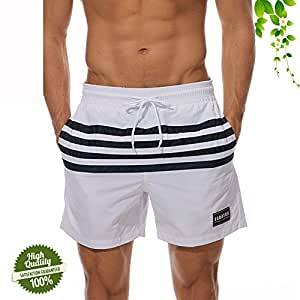 Fashion Beach Shorts for Men's, DOTBUY Quick Dry Comfortable Mesh Lined Board Shorts Fit Swim Trunks Pockets Surfing Running Swimming Casual Pants (L, White)