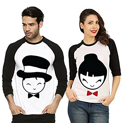 Fanideaz Valentines Gift Raglan Cotton Handsome and Cute Printed Couple T Shirt