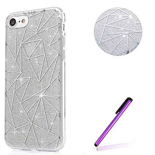 Coque Housse Etui pour iPhone 6 6S,iPhone 6 6S Coque Glitter Bling Silicone Etui Housse,iPhone 6 6S Paillette Transparente Coque,EMAXELERS iPhone 6 6S Ultra-Mince TPU Gel Etui Housse Cover,iPhone 6 6S Triangle 4