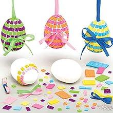Baker Ross Kits d'œufs de Pâques en mosaïque (Paquet de 4) - Fournitures créatives d'art et d'artisanat de Pâques pour les enfants à créer et décorer AT423