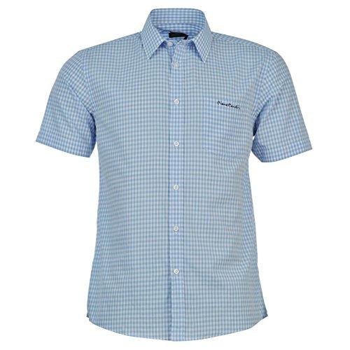 chemisette-pierre-cardin-homme-xxxl-carreaux-bleu-ciel-blanc
