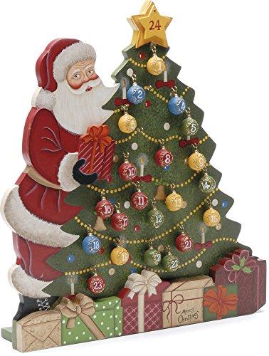 Festive Productions Ltd Luxus-Calendario Santa Claus e albero di Natale con palline natalizie numerati, 35 cm, dipinto a