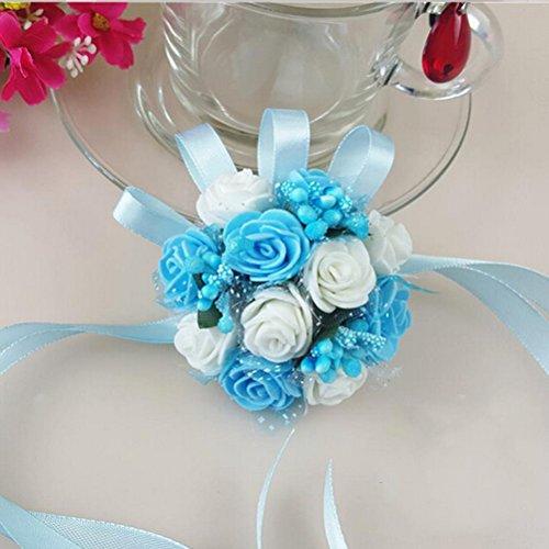LUOEM Da polso Corsage fiore Prom fiore Bracciale nozze damigella d'onore corpetto bracciale perla schiuma mano