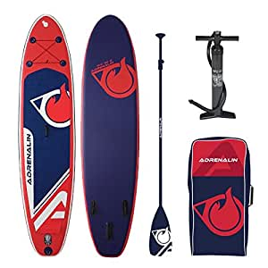 Adrenalin Stand Up Paddle gonfiabile Cruiser 104(317cm) Derive, Kit di riparazione, pompa, Borsa e pagaia, Rouge, Bleu marine, Pack Personnalisé