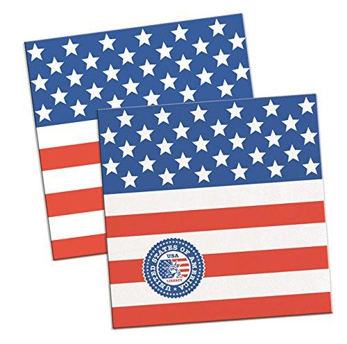 / AMERIKA * für Party und Geburtstag von FOLAT // Mottoparty Geburtstag Feier Fete Set Papierservietten Napkins US Stars and Stripes (Un Costume Usa)