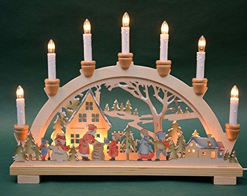 """Schwibbogen Lichterbogen """"Bescherung"""" 10flammig innenbeleuchtet farbig Weihnachten Advent Geschenk Dekoration (10792)"""