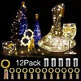 12 Stück LED Flaschenlicht, BIG HOUSE 20 LEDs 2M Lichterkette Kupferdraht batteriebetriebene Weinflasche Lichter mit Kork Schnurlicht für DIY Deko Weihnachten Party Urlaub Stimmungslichter (Warmweiß) -