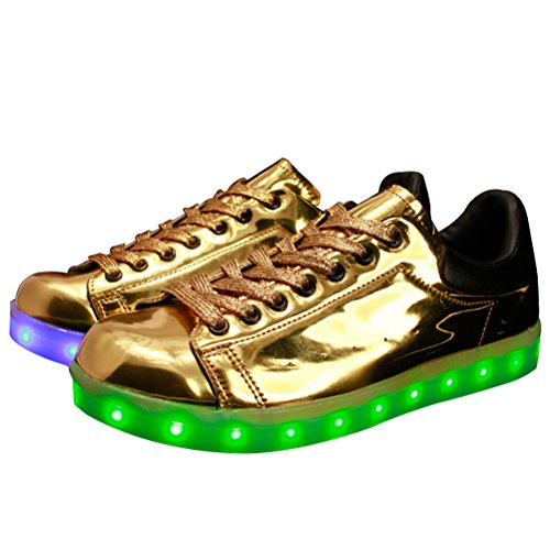 MatchLife Unisex USB Rechargeable LED Chaussure Lumineuse Clignotant Sport Basket Montante Et Basse Sneaker Style3-Or