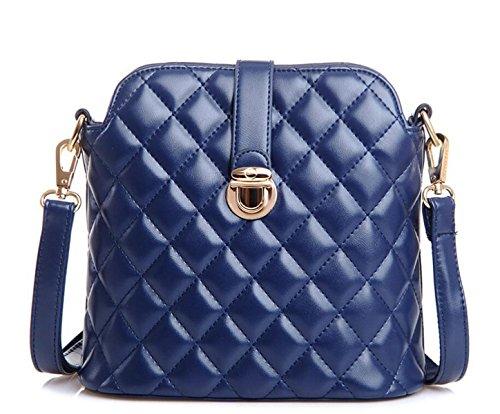 Borse PU Modo Griglia Ricamati Tracolla Messenger Bag Pacchetto Diagonale Blue